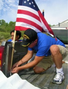 Daniel Carpenter, our honorable wounded warrior, helping get our float set up. Thanks for your service, Daniel!